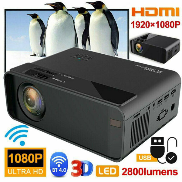 4K 3D WiFi Wireless LED Projector Android 6.0 BLuetooth 1080P Smart Home Theater